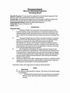 Persuasive Speech Outlines Sample Persuasive Speech Outline Monroes Motivated Sequence