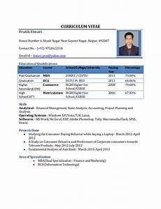 Curriculum Vitae Samples For Freshers Resume Format For Freshers