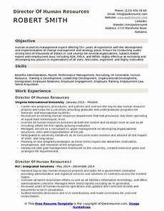 Human Resource Resume Objective Director Of Human Resources Resume Samples Qwikresume