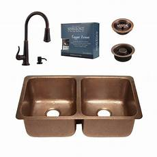 Home Depot Kitchen Sink Faucets Sinkology Pfister All In One Rivera Copper Undermount 32