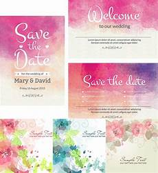 Watercolor Wedding Cards Watercolor Wedding Cute Cards Vector Free Download