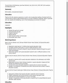 special education teacher assistant resume special education teacher aide resume template best