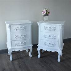 shabby style chic white wooden bedside side table