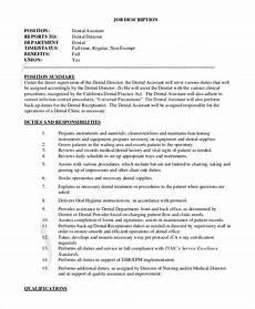 Medical Assistant Duties And Responsibilities List Free 8 Sample Dental Assistant Job Description Templates