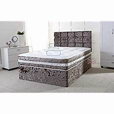 crushed velvet 3ft single divan bed with mattress free