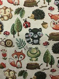 tapestry woodland animals curtain craft upholstery fabric