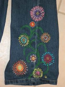 With Designs On Them Flower Power Hippie Style Blue Jean Crewel Embroidery Pattern