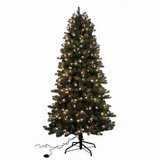 7 5 Slim Christmas Tree With Led Lights Home Accents Holiday 7 5 Ft Blue Spruce Elegant Twinkle