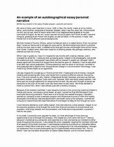 Personal Narrative Essay Sample Example Of A Personal Essay Narrative Essay Letter And