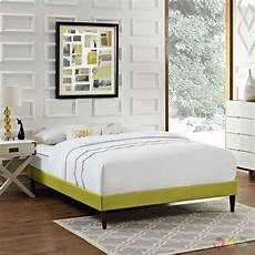 modern king fabric platform bed frame with square