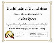 Training Certificate Of Completion Credentials Rybak Home Inspections