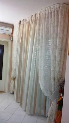 tenda per da letto classica tende in organza a righe doppiate da calate in tulle