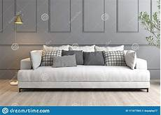 Small Grey Sofa 3d Image by 3d Rendering Interior Grey Wall White Sofa Stock