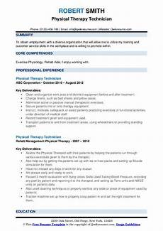 Physiotherapy Resume Sample Physical Therapy Technician Resume Samples Qwikresume