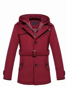 burgundy pea coats for brilliant burgundy wool blend hooded pea coat by
