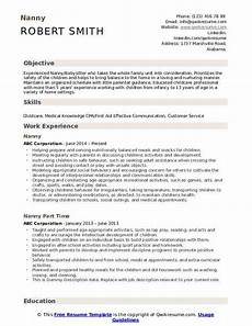 Nanny Resume Objective Sample Nanny Resume Samples Qwikresume
