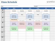 Make Your Own Class Schedule Weekly Class Schedule Template For Excel
