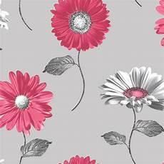 Flower Wallpaper Metallic by Muriva Floral Metallic Gerbera Flower Wallpaper Pink