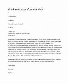 Thank You Letter For Interview Opportunity Free 9 Sample Thank You For The Interview Letter