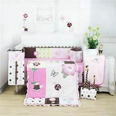 8 pieces beautiful pink flower baby crib cot bedding