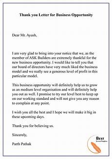 Thank You For Opportunity Letter Sample Thank You Letter For Business Opportunity 01 Best Letter