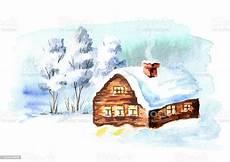 Malvorlage Haus Mit Schnee Winterlandschaft Haus Und B 228 Ume Mit Schnee Aquarell