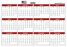 2020 Us Calendar Printable Us 2020 Calendar Yearly 12 Month Printable Calendar 2020