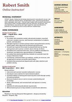 Online Instructor Resume Online Instructor Resume Samples Qwikresume