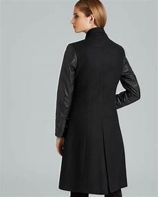 Gallery Coat Size Chart Papell Long Fitted Coat With Leather Trim In