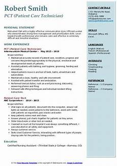 Pct Resume Patient Care Tech Resume Samples Qwikresume