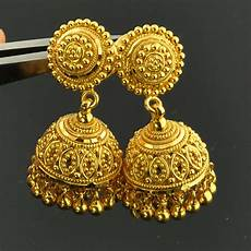 22k Gold Indian Jewellery Designs 22k Solid Yellow Gold Post Earrings With Backs Pair Ebay
