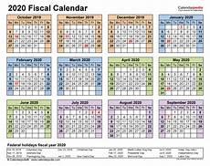 2020 Fiscal Year Calendar Fiscal Calendars 2020 Free Printable Pdf Templates