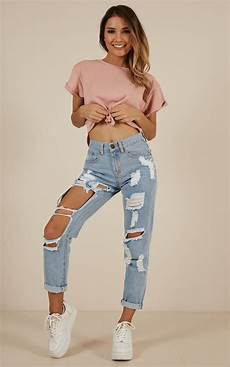 Light Ripped Jean Outfits Hailey Ripped Jeans In Light Wash Denim Showpo