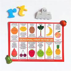 Vegetable Season Chart Uk Uk Seasonal Fruits And Vegetables Charts Postcards By