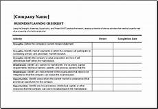 Business Plan Checklist Template Ms Excel Business Planning Checklist Template Excel