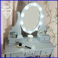 modern dressing table with vanity mirror lights