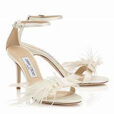 Designer Shoes With Feathers Lyst Jimmy Choo Vivien 85 Ivory Satin Sandals With