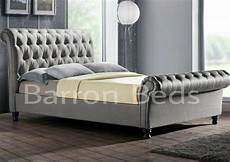 chesterfield sleigh style upholstered bed frame chenille