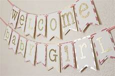 Baby Shower Banner Pink And Gold Baby Shower Banner Welcome Baby Girl