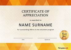 Volunteer Award Certificate Template 30 Free Certificate Of Appreciation Templates And Letters