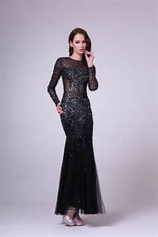 beadwork gown sheer sparkling evening gown sleeve rhinestone