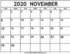 November 2020 Calendar Printable Free November 2020 Calendar Free Printable Calendar Com