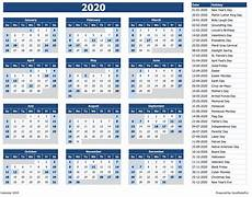 2020 Calendar Printable With Holidays Download 2020 Yearly Calendar Sun Start Excel Template