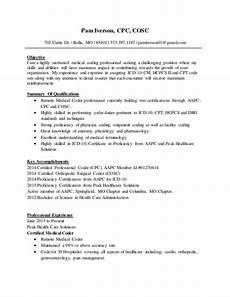 Coding Resume Medical Coding Resume