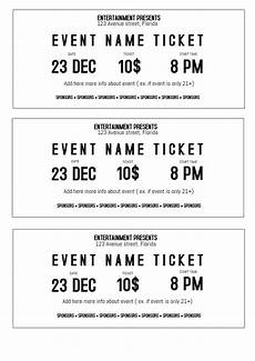 Template For Tickets With Numbers Black And White Event Ticket Template Printable Size A4