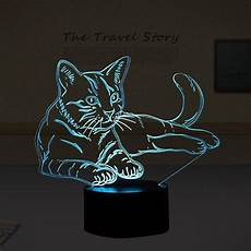 Cat Night Light Usb Lovely 7 Colors 3d Cat Night Light Animal Lamp Led Usb 3d