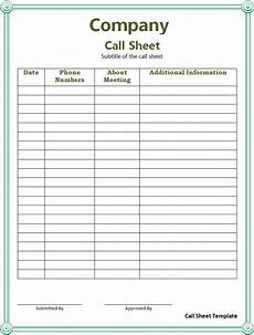 Call Sheet Template Excel Call Sheet Template Free Printable Ms Excel Amp Word