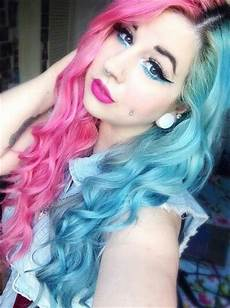 Half Pink Half Blue Half Pink Half Blue Dyed Hair All About Hair Pinterest