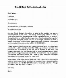 Credit Card Authorization Letter Template Free 9 Sample Credit Card Authorization Letter Templates