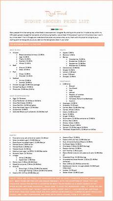 Grocery List Prices Calculator Budget Grocery Price List Crafty Coin